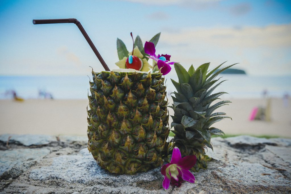 pineapple drink on the beach