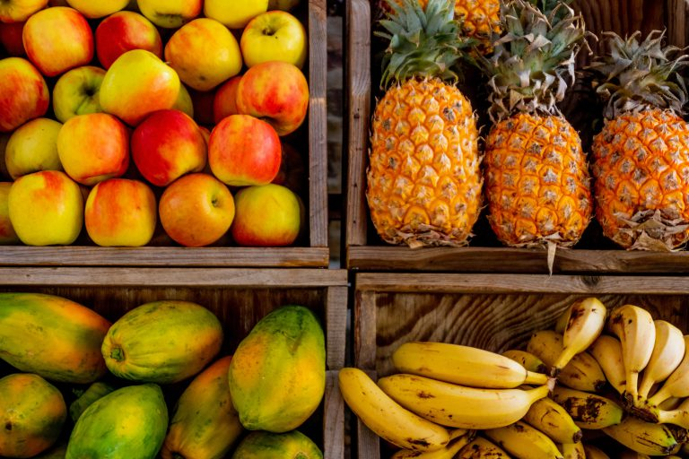 pineapple alongside other fruits
